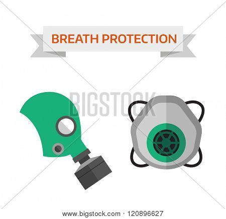 Respiratory protection vector illustration. Respiratory protection isolated on white background. Respiratory protection vector icon illustration. Respiratory protection isolated vector. Respiratory