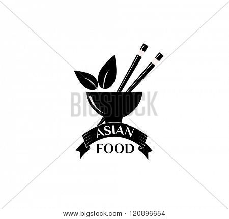 Asian food logo vector illustration. Asian food logo isolated on white background. Asian food logo vector icon illustration. Asian food logo isolated vector Asian food logo silhouette