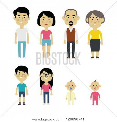 Flat vector asian family members. Parents, grandparents, children and baby.
