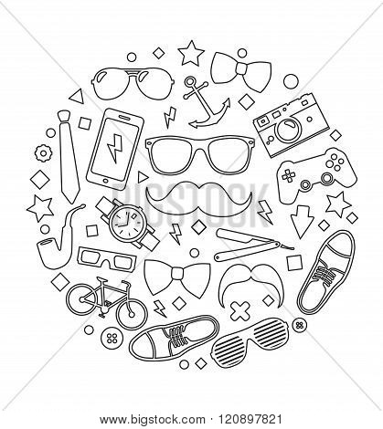 Set of fashionable men's accessories. vector illustration backdrop Vector template