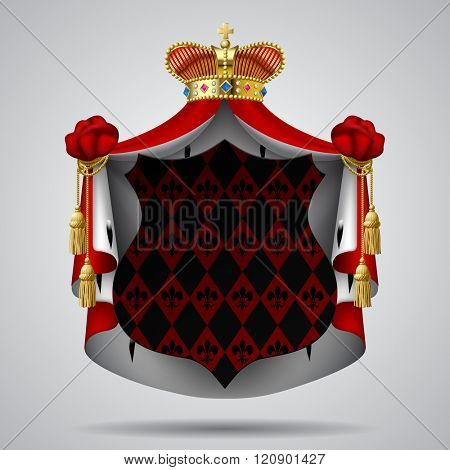 Dark decorative signboard with red royal mantle and gold crown. Contain the Clipping Path