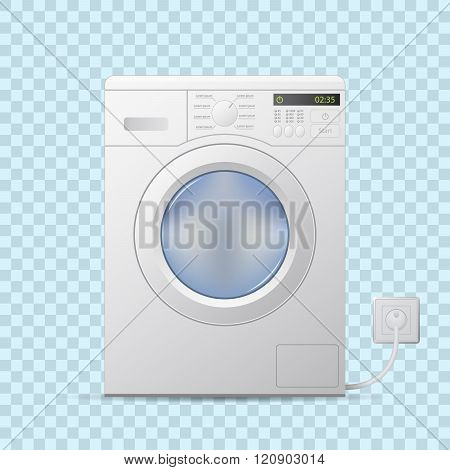 Washing machine on transparent background. Front view. Editable realistic vector.