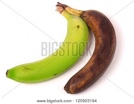 rotten and green banana isolated on white background