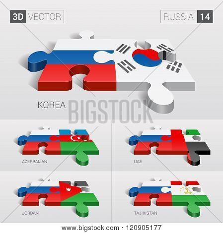 Russia Flag. 3d vector puzzle. Set 14.