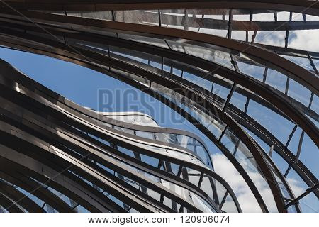 Laverstoke Mill, England - May 2015: A detailed photograph of the aluminium and glass structure of t
