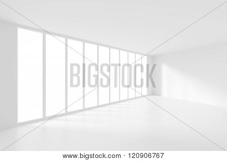 3d Modern Interior Background. White Empty Room
