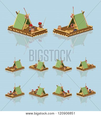 Low poly wooden raft