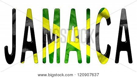 Jamaica Word With Flag Texture