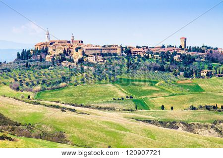 Cityscape of Pienza medieval town in Tuscany Italy