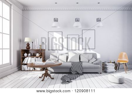 3d render of beautiful clean interior room