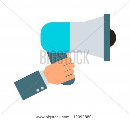 Megaphone hand vector illustration