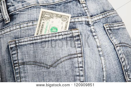 Money, The Note Of One Dollar, In A Hip-pocket Of Blue Jeans