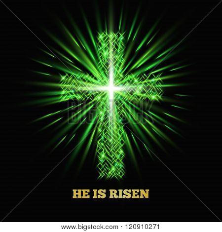 He Is Risen Shining Cross Easter Background Vector Illustration