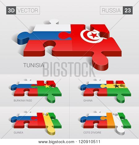 Russia Flag. 3d vector puzzle. Set 23.
