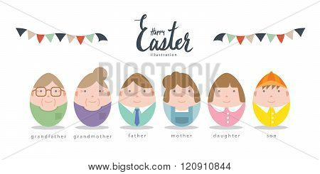 Cute Family Characters Of Easter Eggs Flat Vector.