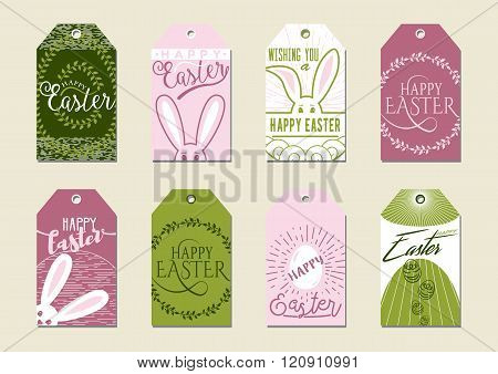 Set Of Happy Easter Gift Tags. For Presents And Gifts