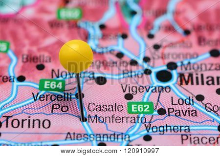 Casale Monferrato pinned on a map of Italy