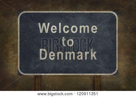 Welcome To Denmark Roadside Sign Illustration