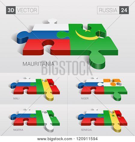 Russia Flag. 3d vector puzzle. Set 24.