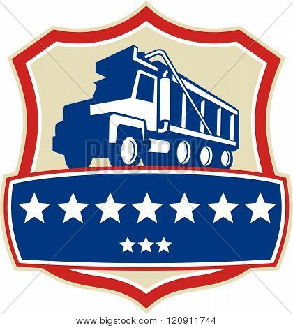 Triple Axle Dump Truck Stars Crest Retro