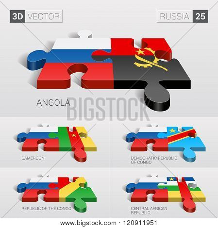 Russia Flag. 3d vector puzzle. Set 25.