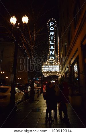 March 2, 2016 in Portland, OR:  Historic Portland Theater opened in 1928 which has Broadway shows, musicals, concerts, and plays and is currently hosting the concert Mariachi Sol De Mexico taken in Downtown Portland, OR during the rain