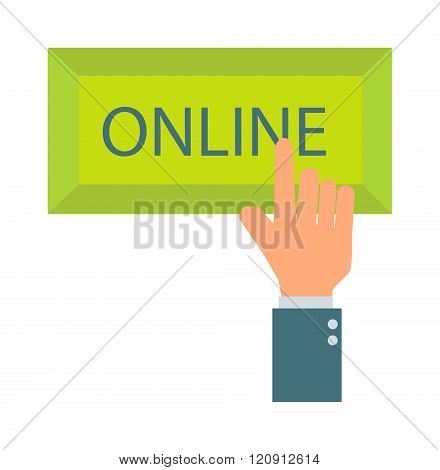 Online button vector illustration.