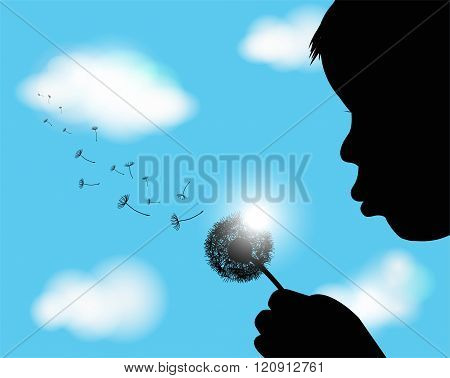 boy blowing on a dandelion and sky in the background