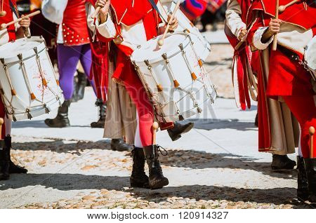 drummers in medieval historical costume parade.  the historical Medieval parade of the Palio of Asti in Piedmont, Italy.