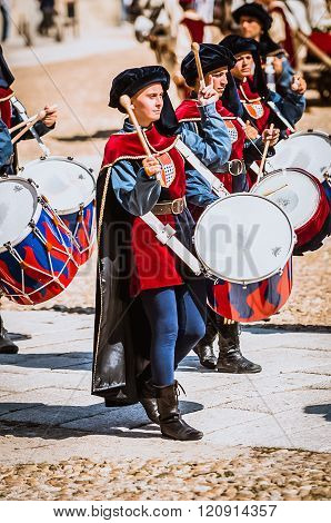 Young Girl Drummer In Medieval  Costumes