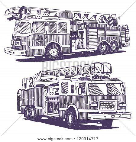 Firetruck vector drawings