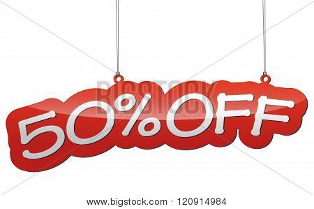 Red Vector Illustration - Background Tag Fifty Percent Discount