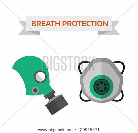 Respiratory protection vector illustration
