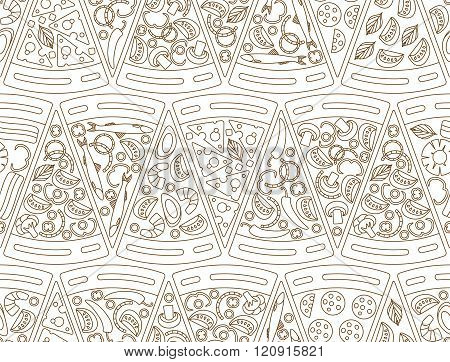 Seamless pattern made of pizza pieces in line style. Vector illustration of pizza Marhgerita, Pepper