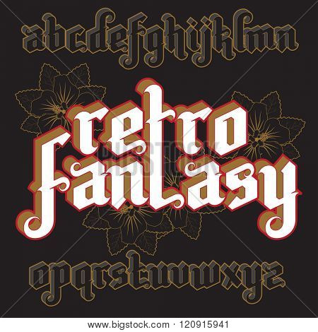 3d Retro Fantasy Gothic Font. Custom type vintage letters on a dark background. Stock vector typography for labels, headlines, posters etc.