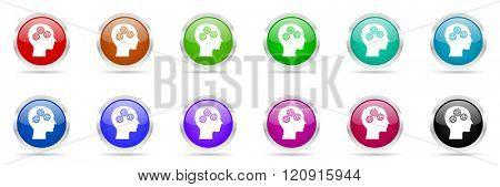 head glossy colorful web icons set