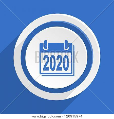 new year 2020 blue flat design modern icon
