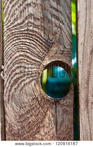 a hole in a old wooden fence. Hole in Wood Fence