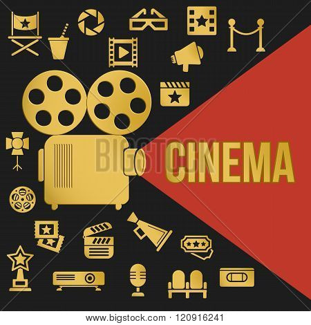 Movies Retro Video Projector with Spotlight. Film Projector Highlights Word Cinema. Template vector concept with cinema icons.