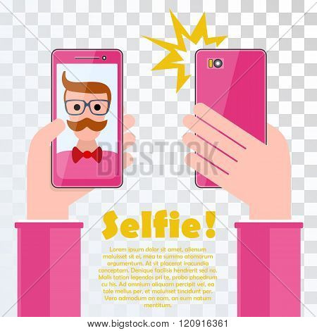 Selfie poster with hipster holding smartphone with self portrait picture vector illustration on transparent. Taking Selfie Photo on Smart Phone. Hipster Selfie.
