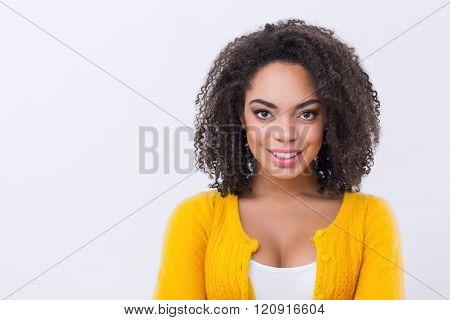 Pleasant mulatto woman smiling