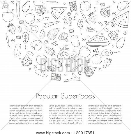 Popular superfoods concept.
