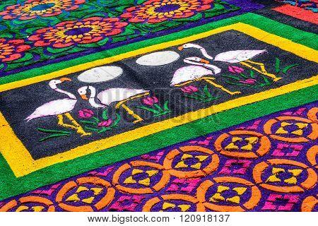 Closeup Flamingo Dyed Sawdust Lent Carpet, Antigua, Guatemala