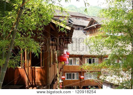 Traditional wooden houses in village, Southern China