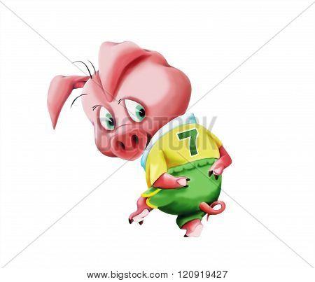 Little pig in sportswear