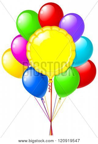 round foil balloon with balloons