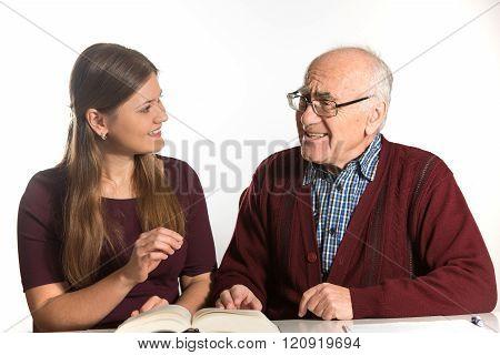 Woman Helps Senior Man