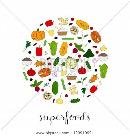 Hand drawn superfoods in circle.