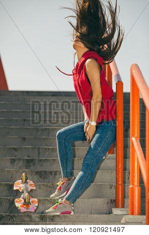 Urban Skate Girl With Skateboard.