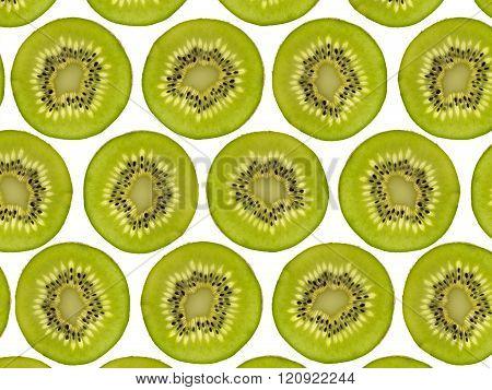 Sliced Kiwi Fruit Pattern, Halved Kiwis